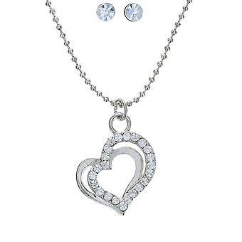 Rhinestone Set Double Heart Necklace & Stud Earring Set - Pack of 10