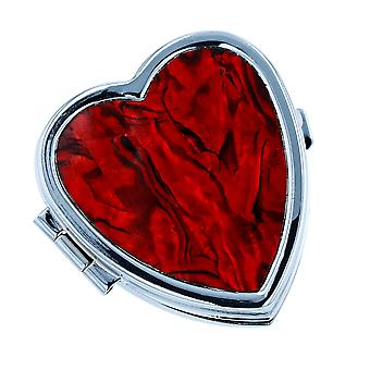 The Olivia Collection Ladies Red Inlaid Paua Shell 2 Compartment Heart Shaped Pill Box