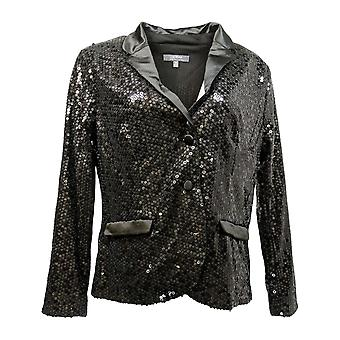 Lisa Rinna Collection Women's Suit Jacket/Blazer Sequin Black A298372