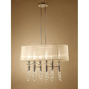 Tiffany Pendant 6+6 Light E27+g9 Oval, French Gold With Cream Shade & Clear Crystal