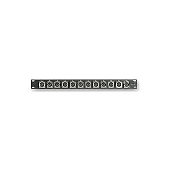 Pulse Pls00023 1u Rack Panel With 12x Xlr Panel Sockets