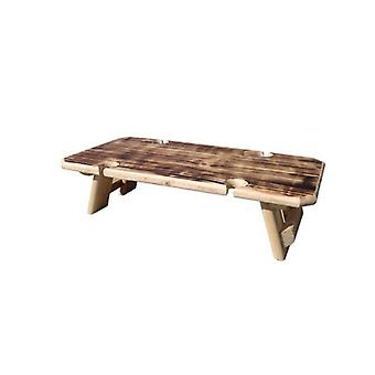 Burnt Finish 4 Glasses Portable Folding Wine Table In Reclaimed Wood