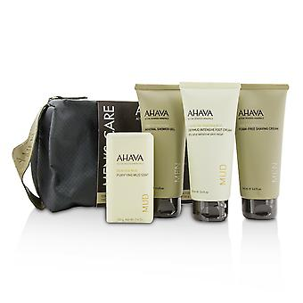 Men's care set: shaving cream 100ml + mineral shower gel 100ml + dermud intensive foot cream 100ml + purifying mud soap 100g 4pcs