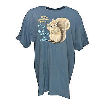 Gildan Women's Top Squirrel Novelty Graphic T-Shirt Bleu