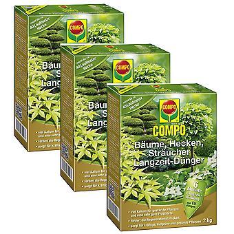 Sparset: 3 x COMPO деревья, живые изгороди, кустарники долгосрочные удобрения, 2 кг