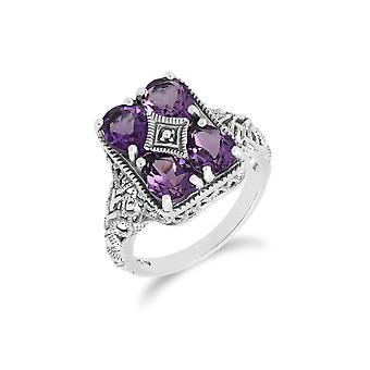 Jugendstil inspiriert Amethyst Statement Ring in 925 Sterling Silber 241R031002925