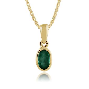 Classic Oval Emerald Pendant Necklace in 9ct Yellow Gold 183P1120019