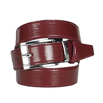 Boys Faux Leather Patent Burgundy Belt