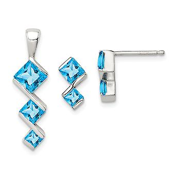 925 Sterling Silver Polished Blue Topaz Pendant Necklace and Post Earrings Set Jewelry Gifts for Women
