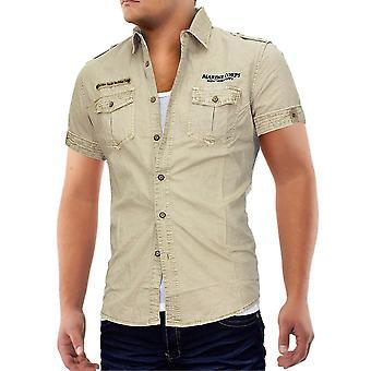 Mannen korte mouw Cargo borstzak Vintage polo shirt shirt hemd voor mannen Camel VIP