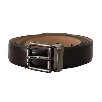 Dolce & Gabbana Brown Leather Silver Buckle Belt