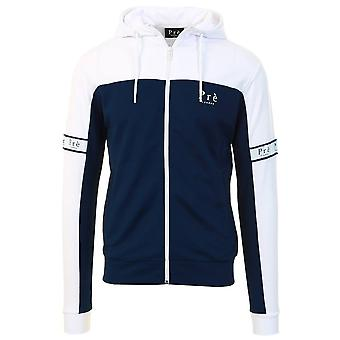 Pre London | Eclipse Nylon Full Zip Hood Track Top - Navy/white