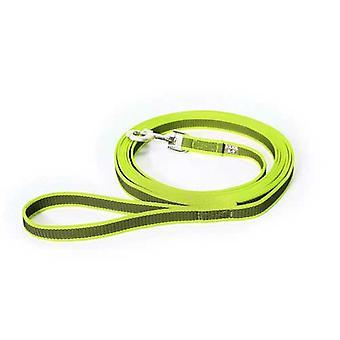 يوليوس-K9 اللون &; رمادي فائقة قبضة المقود - نيون رمادي العرض (0.7 & نقلا عن / 20mm) طول (16ft / 5 م) مع مقبض، ماكس ل110lb / 50 كجم الكلب