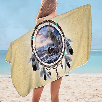Dream Catcher Wolf Pack Microfiber Beach Towel