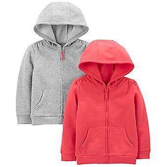 Simple Joys de Carter's Girls' Toddler 2-Pack Fleece Full Zip Hoodies, Pink/G...