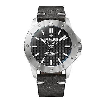 Meccaniche Veneziane 1303001 Arsenale Automatic Black Leather Wristwatch