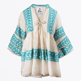Pearl & Caviar  - Embroidered Aztec Blouse - Teal