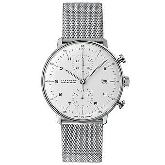 Junghans Max Bill Chronoscope 027/4003.48 Automatische Zilveren Wijzerplaat Milanese armband herenhorloge