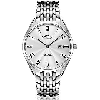 Rotary GB08010-01 Men's Ultraslim Silver Tone Dial Wristwatch