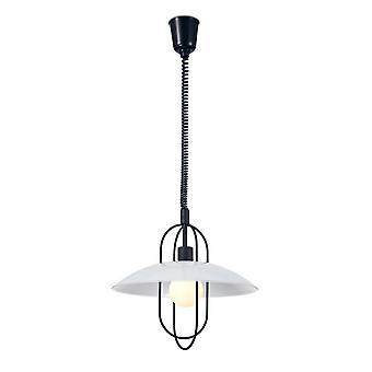 Inspireret Deco - Riva - Rise & Fall Dome Loft Vedhæng E27, Matt Black, Opal White Glass Shade