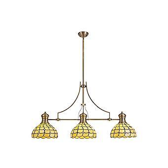 Éclairage Luminosa - 3 pendentif au plafond télescopique léger E27 avec 30cm Tiffany Shade, Laiton antique, Beige, Cristal clair