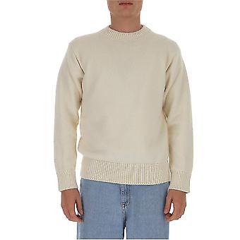 Laneus Mgu563cc9wht Men's White Wool Sweater