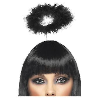Womens Black Angel Halo Headband Fancy Dress Costume Accessory
