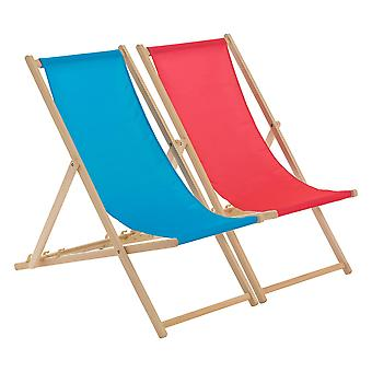 Traditional Adjustable Beach Garden Deck Chairs - Pink / Light Blue