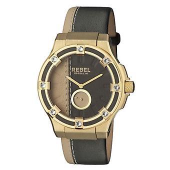 Rebel Women's RB119-9071 Flatbush Gold IP Steel Black Tan Wristwatch