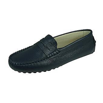 Angela Brown Barnie Boys Pelle Moccasin Smart Scarpe Slip on - Navy Blue