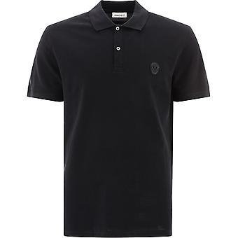 Alexander Mcqueen 622106qpx331000 Men's Black Cotton Polo Shirt