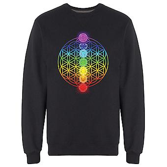 Rainbow Flower Chakras Sweatshirt Men's -Image by Shutterstock
