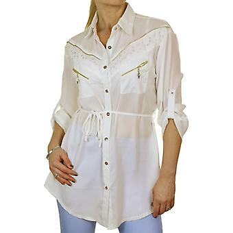 Women's Smart Loose Button Down Blouse Top Ladies Casual Formal Zip Detail Lightweight Long Sleeve Belted Georgette Shirt 8-12