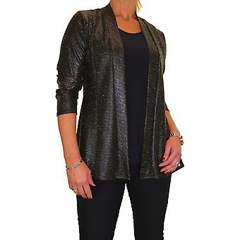 Women's 2 in 1 Round Neck Top With Attached Jacket Look Wet Look Glittery Effect Lurex Top Evening 10-18