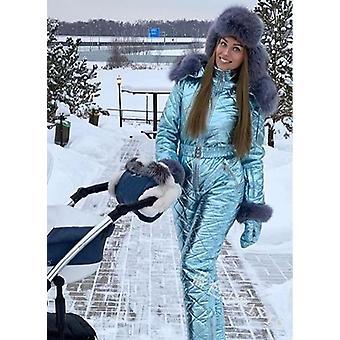 Women Fashion Hooded With Fur Collar Outdoor Snowboard Jacket, Windproof Warm
