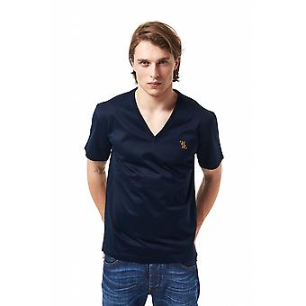Billionaire Italian Couture Navy Blue V-Neck Embroidered T-shirt