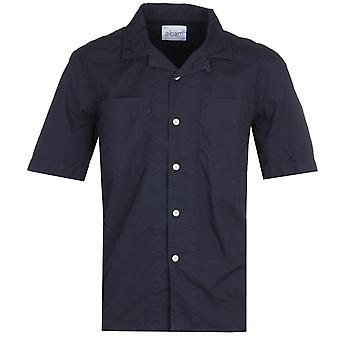 Albam Short Sleeve Revere Collar Navy Shirt