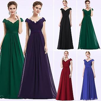 Wedding Party Gowns Plus Size Evening Dresses Women's Long Elegant V-neck