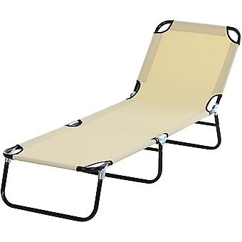 Outsunny Portable Folding Sun Lounger With 4-Position Adjustable Backrest Relaxer Recliner with Lightweight Frame Great for Pool or Sun Bathing Beige