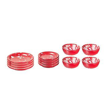 Puppen Haus rote Fleck Platte & Dish Set Miniatur-Esszimmer-Zubehör