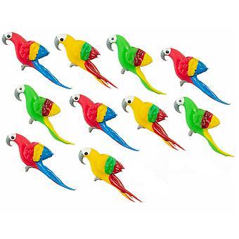 Dolls House 10 Parrots Miniature Bird Aviary Cage Accessory