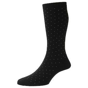 Pantherella Gadsbury Cotton Fil D'Ecosse Pin Dot Socks - Preto
