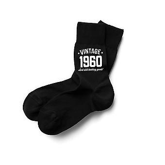 Design, erfinden, drucken! 60. Geburtstag Geschenke für Männer schwarze Baumwolle Socken Vintage Andenken