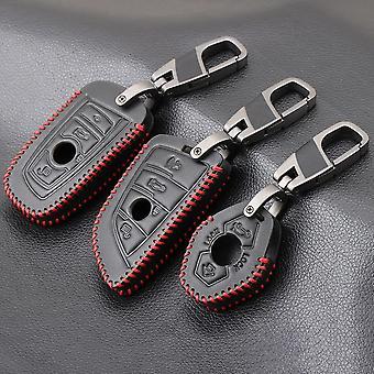 Ægte læder nøgle dække sag fjernbetjening til BMW Key