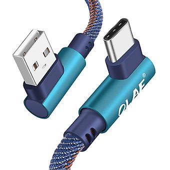 OLAF USB-C Câble de charge 90 ° - 2 mètres - Tressé Nylon Charger Câble de données Android Blue