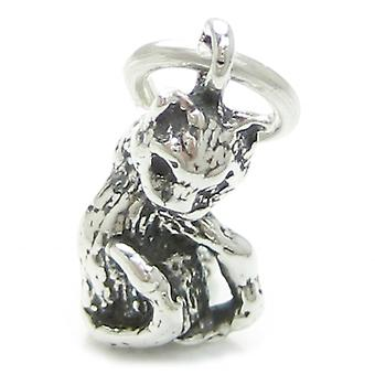 Cat Sterling Silver Charm .925 X 1 Charms Feline Pussy Cats Charms - 3603