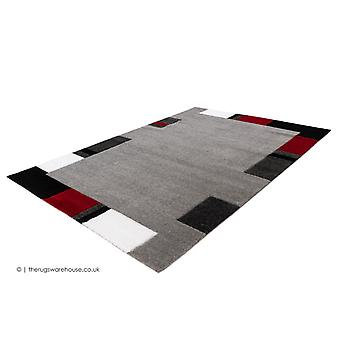 Swing Border Silver Red Rug