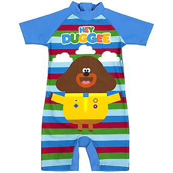 Hey Duggee Swimsuit For Boys | Kids Cbeebies Sun Safe Swimming | Blue Striped All In One Bathing suit for Swimming Lessons, Beach & Pool Days