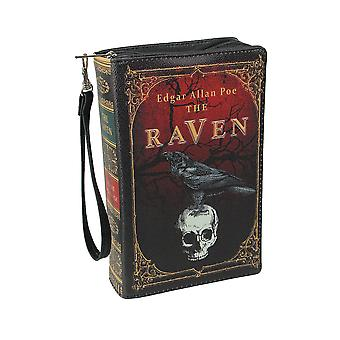 Black Vinyl The Raven Book Handbag Novelty Clutch Purse Crossbody Bag Edgar Allen Poe