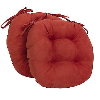 Coussins de chaise touffu rond en daim massif de 16 pouces (ensemble de 2) - Cardinal Red